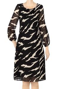 Elegancka sukienka czarna w beżowe mazaje