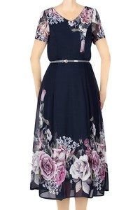 Sukienka damska granatowa w blade kwiaty