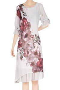 Sukienka damska szara w bordowe kwiaty