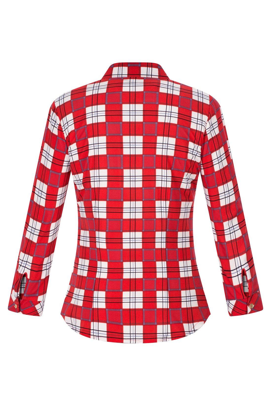 9e507d40 Bluzka damska czerwono-biała w kratkę z kołnierzykiem