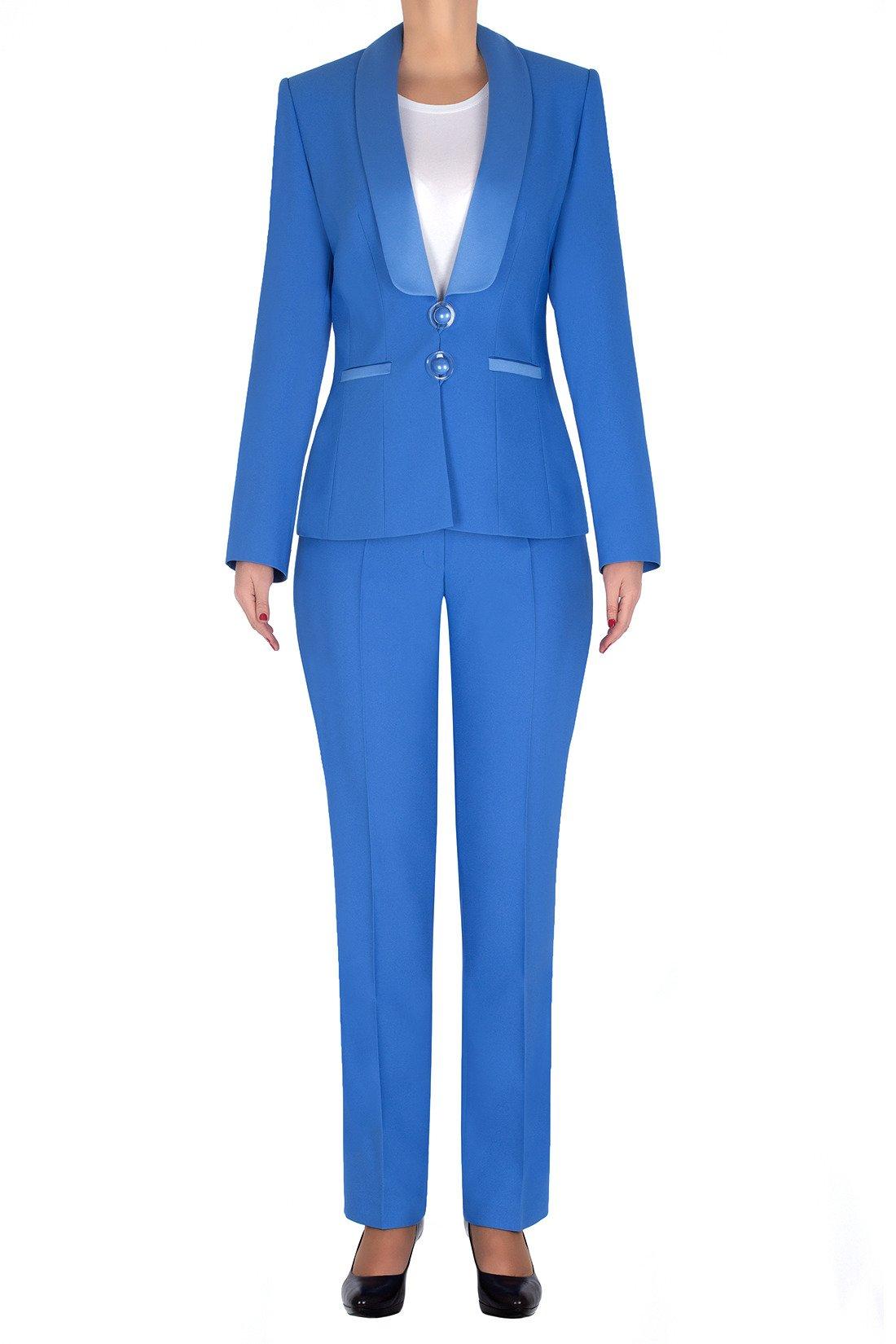 23fd5a79e2869 Elegancki garnitur damski niebieski żakiet i spodnie 3197 Kliknij, aby  powiększyć ...