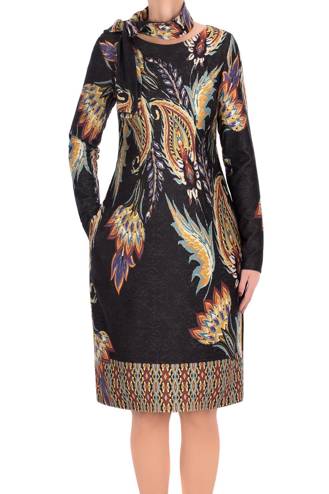 e2741053d4 Sukienka Dagon 2733 czarna w kolorowe ornamenty z szalem