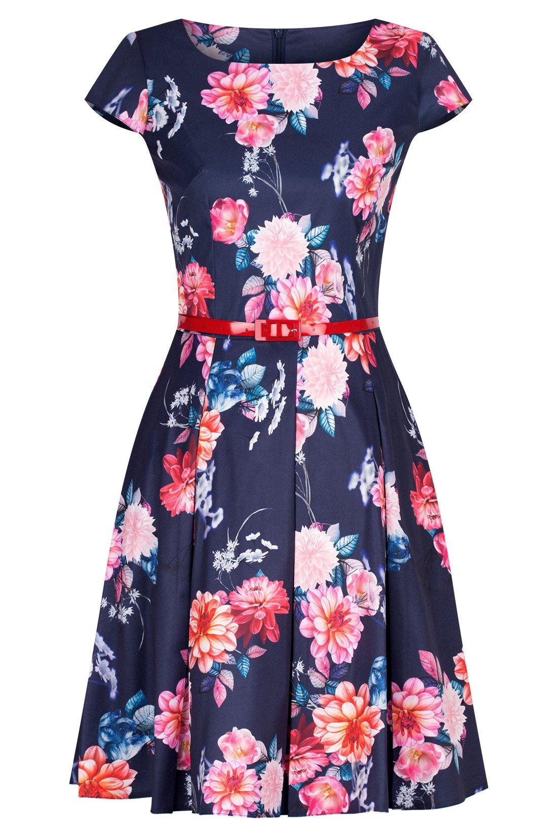 9e69f712148b Sukienka Gotta granatowa w kolorowe kwiaty z paskiem w talii