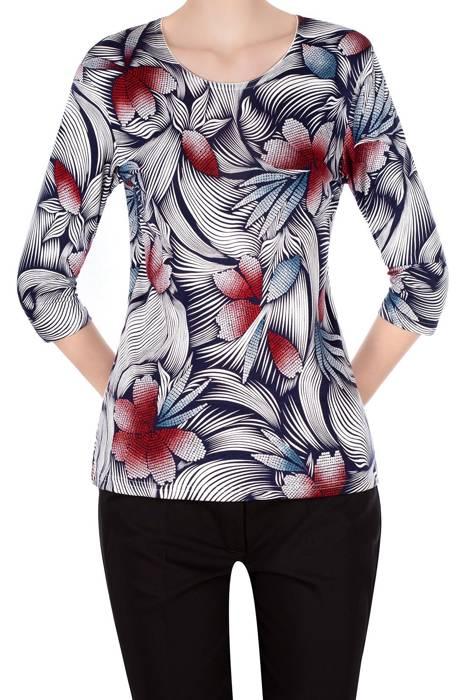 Bluzka Aga granatowo-biała w kolorowe kwiaty