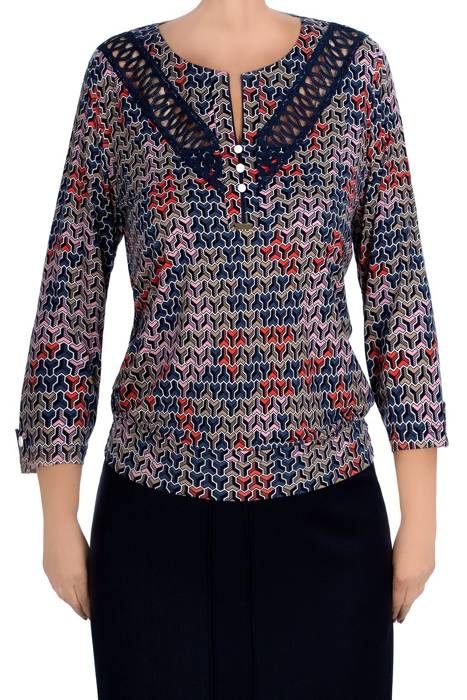 Bluzka damska 3987 w kolorowy wzór