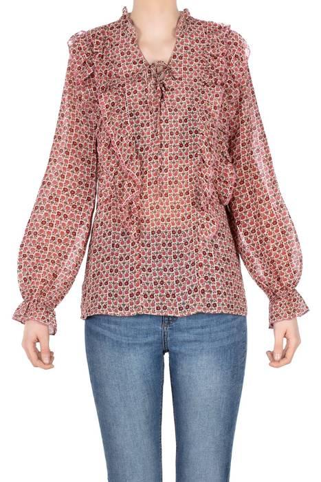 Bluzka damska beżowa z różowymi kwiatkami