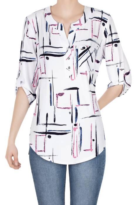 Bluzka damska biała we wzory