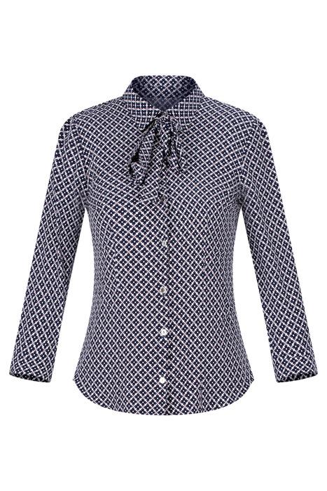 Bluzka damska geometryczne wzory na guziki z kokardą