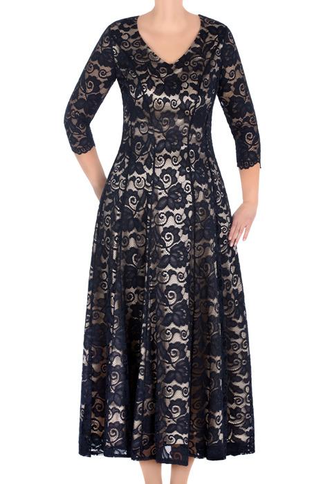 Długa koronkowa sukienka Aura granatowa