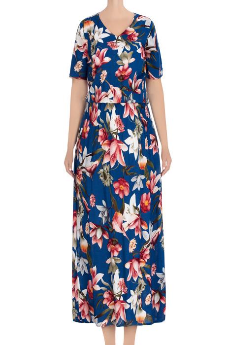 Długa, letnia sukienka chabrowa w czerwono-białe kwiaty 3439