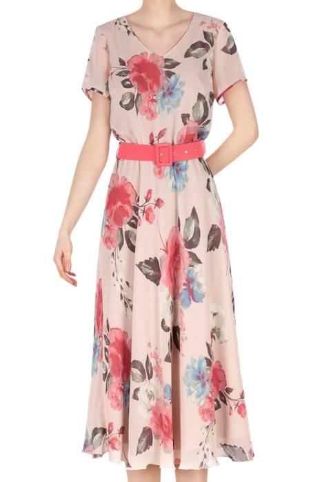 Długa sukienka Alika brudny róż w różowe kwiaty