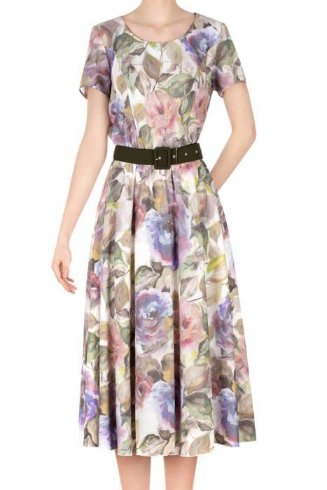 Długa sukienka Alika ecru w malowane kwiaty