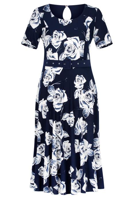 Długa sukienka Maria Magdalena Alika granatowa w róże rozkloszowana