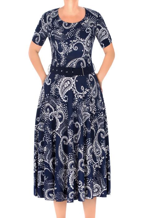 Długa sukienka Maria Magdalena Alika granatowa we wzory rozkloszowana