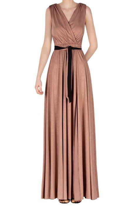 Długa sukienka ciemny beż z brokatem