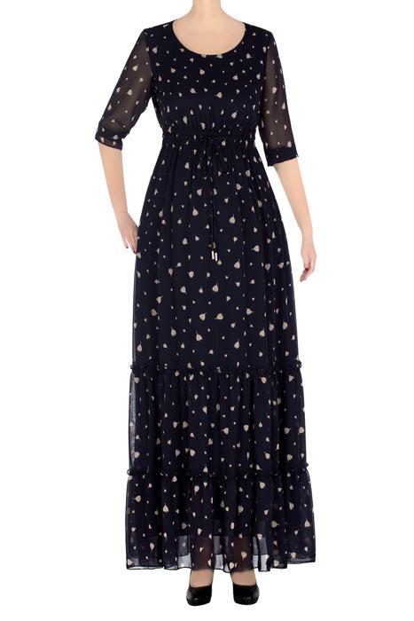 Długa sukienka damska Karmina granatowa w beżowe jabłka 3316