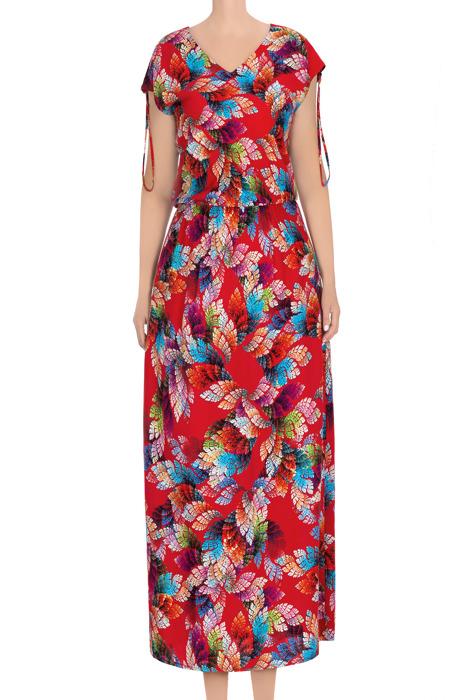 Długa sukienka damska czerwona w liście 3437