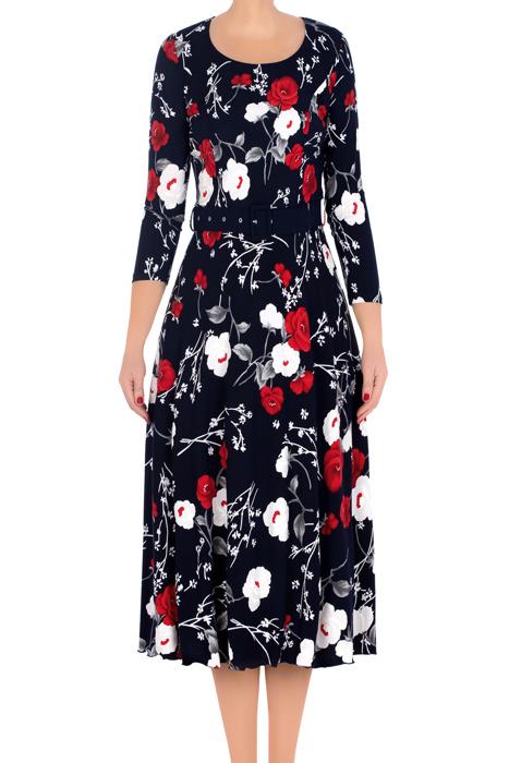 Długa sukienka damska granatowa w biało-czerwone kwiaty 3138