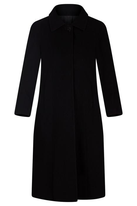 Długi damski zimowy płaszcz 2868 czarny na guziki