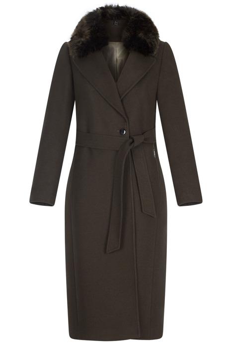 Długi damski zimowy płaszcz Zartex Agnes khaki z paskiem