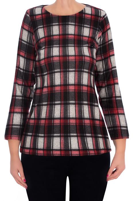 Dzianinowa bluzka damska 2794 szara w kratkę