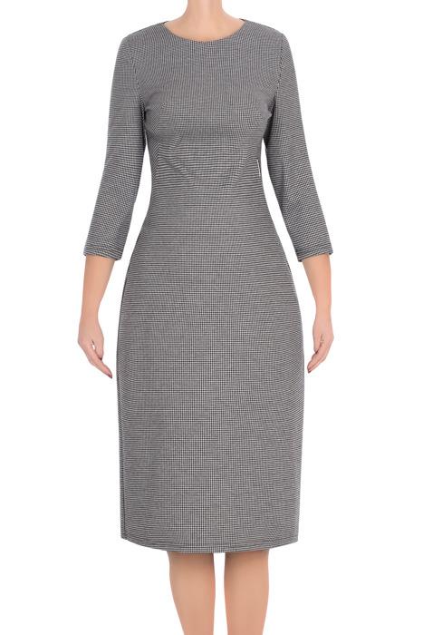 Dzianinowa sukienka Beata szara w pepitkę