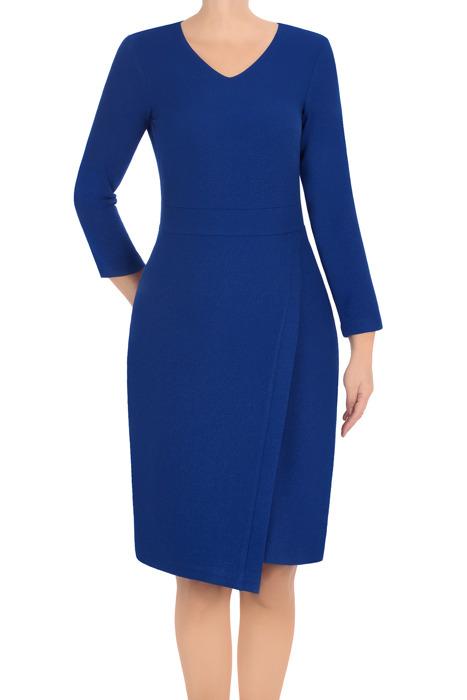 Elegancka sukienka Lotos Iza chabrowa asymetryczna