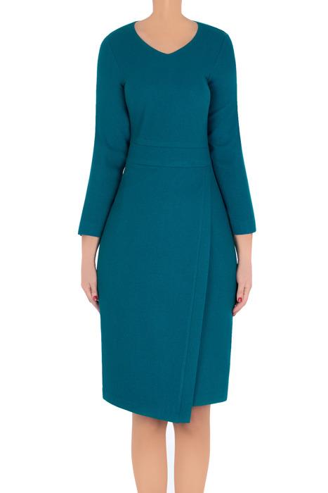 Elegancka sukienka Lotos Iza morski niebieski asymetryczna