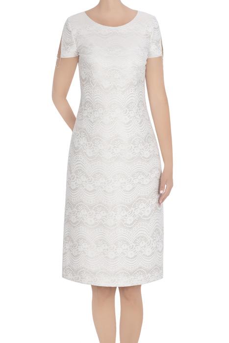 Elegancka sukienka damska Dagon 2770 ecru z łańcuszkiem
