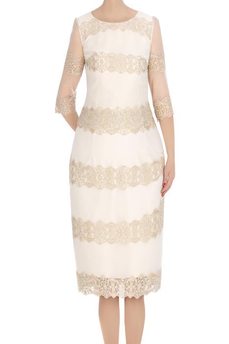 Elegancka sukienka damska Diana ecru z gipiurą 3305