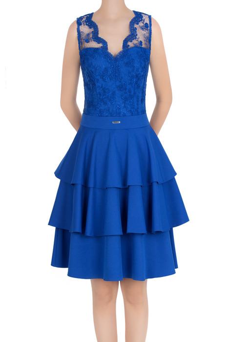 Elegancka sukienka damska Feero chabrowa koronka 3444