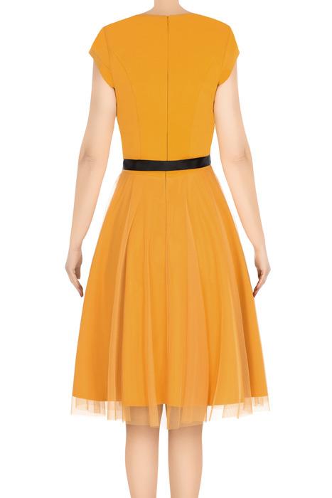 Elegancka sukienka damska Feero musztardowa z paskiem 3224
