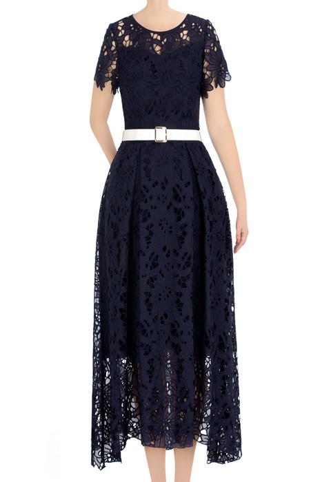 Elegancka sukienka damska Raffella granatowa z paskiem 3366