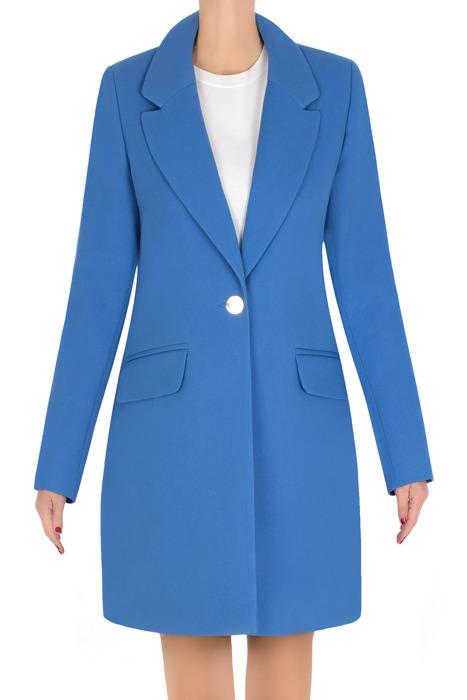 Elegancki płaszcz damski wiosenny niebieski 3273