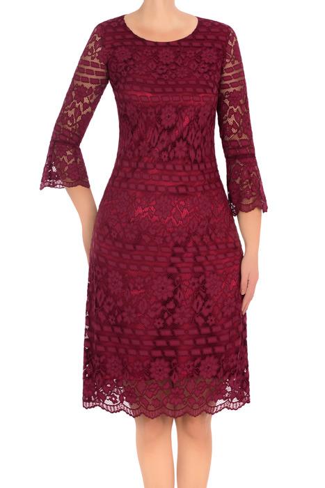 Klasyczna koronkowa sukienka J.S.A. Ella bordowa