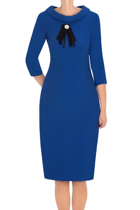 Klasyczna sukienka 2876 chabrowa z wywijanym dekoltem