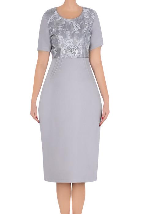 Klasyczna sukienka Lotos Margarita szara góra z koronki