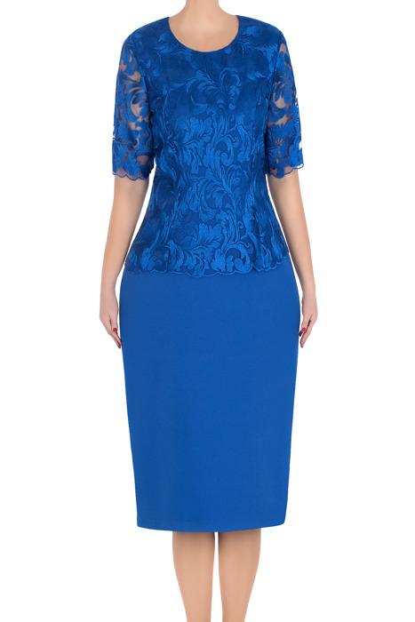 Klasyczna sukienka Lotos Renia chabrowa góra z koronki