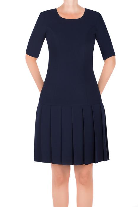 Klasyczna sukienka Rene Monika granatowa prosty fason