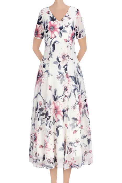Klasyczna sukienka damska Daiana ecru w różowe kwiaty 3432