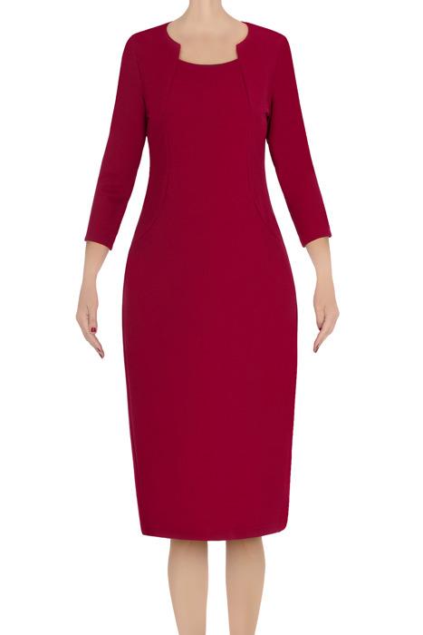 Klasyczna sukienka damska Lotos Ela bordowa 3572