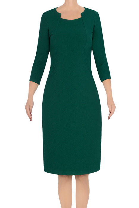 Klasyczna sukienka damska Lotos Ela ciemna zieleń 3574