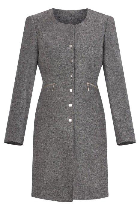 Klasyczny płaszcz Dagon 2903 szary melanż