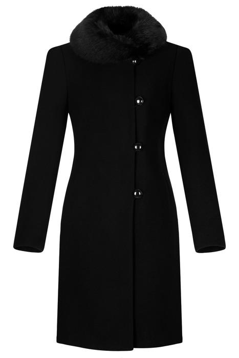 Klasyczny płaszcz damski zimowy Maja czarny z wełną