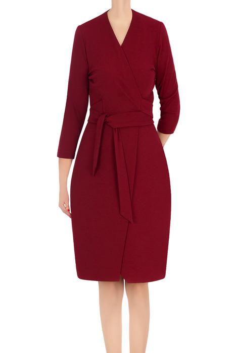 Koktajlowa sukienka damska Modesta bordowa z wiązaniem 3365