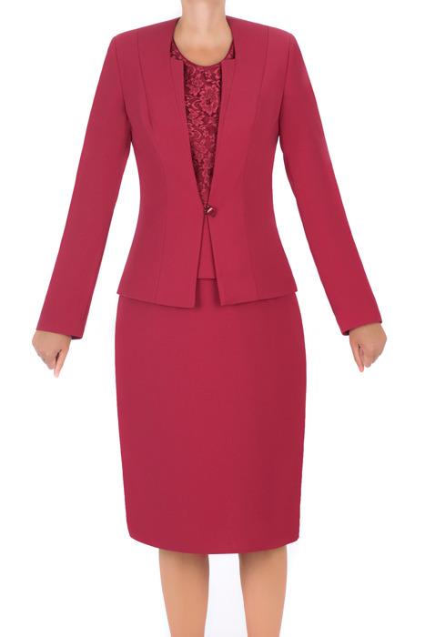 Komplet damski Gracja jasny bordowy - żakiet, spódnica i bluzka