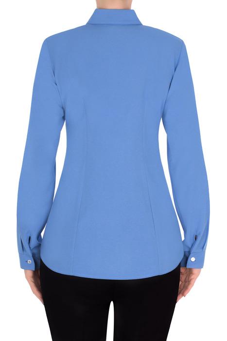 Koszulowa bluzka damska 2825 niebieska kołnierzyk i mankiet