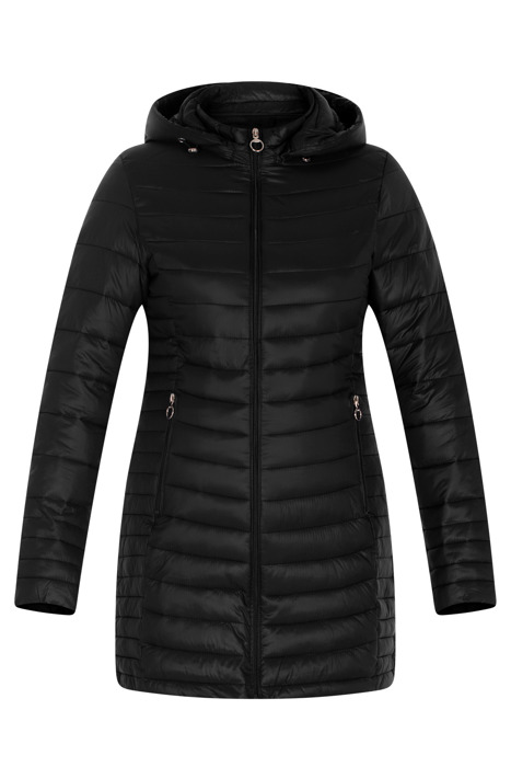 Pikowana czarna kurtka z kapturem 3152