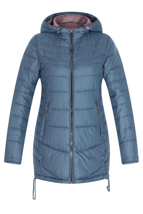 Pikowana niebieska kurtka z kapturem 3155