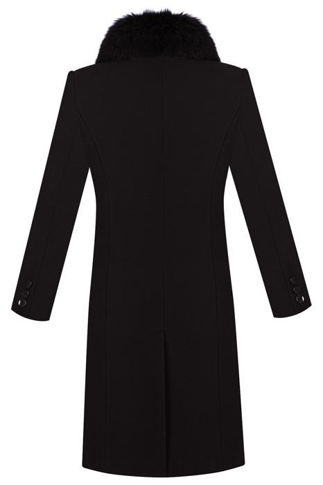 Płaszcz zimowy Moris Hania czarny z lisem z wełną